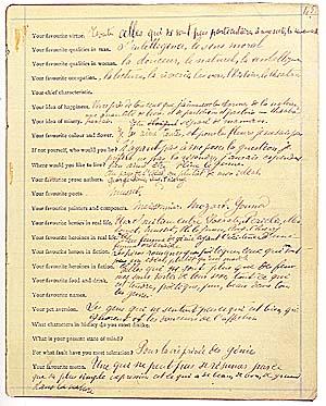 Le questionnaire dit «de Proust», par lui-même et par F.