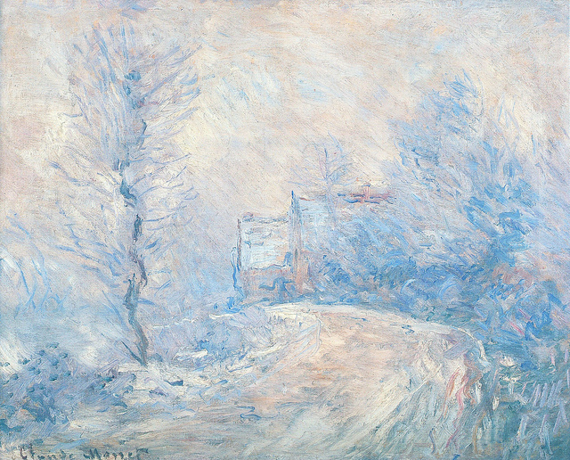L'Entrée de Giverny sous la neige - Monet