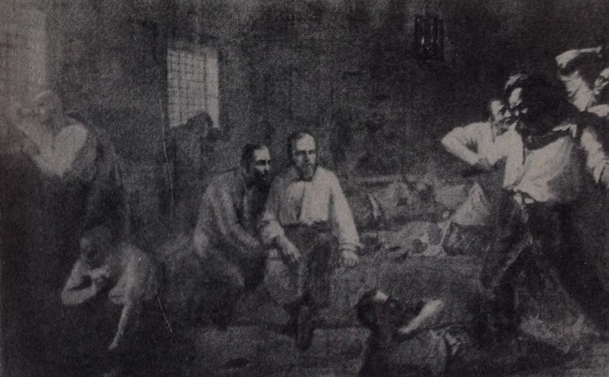 D. à la prison d'Omsk - Illustration de C. Pomérantsev (1862)